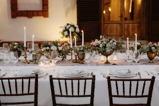 table decor brass candle elegant wedding in Italy