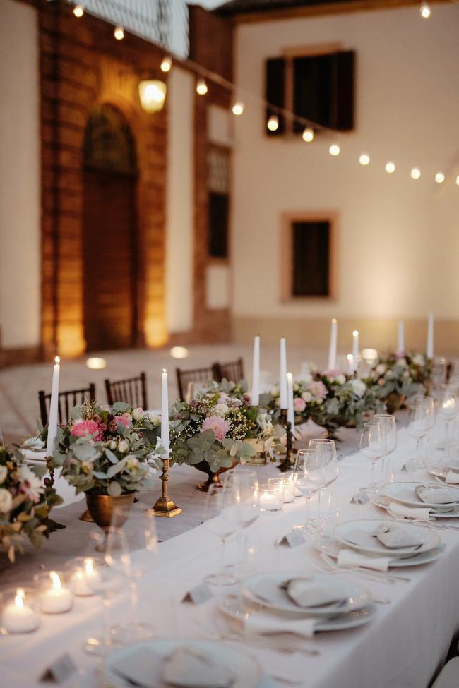 wedding decor table set flowers arrangement brass