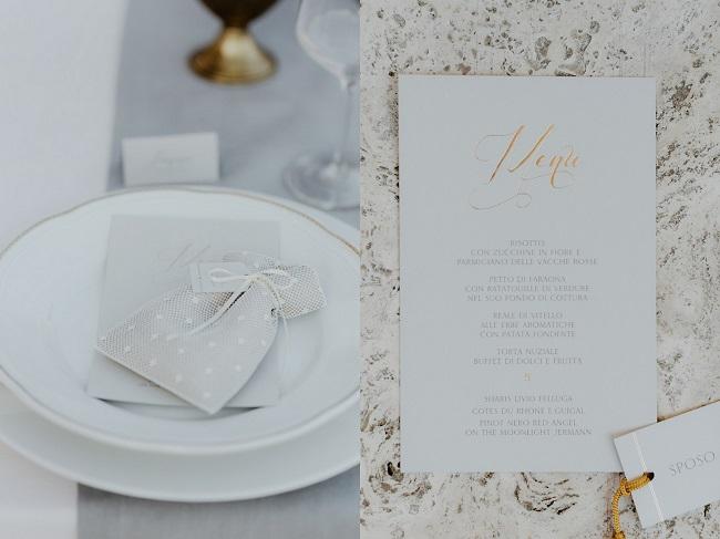 menu wedding stationery