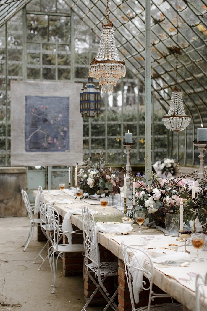Table setting in a greenhouse